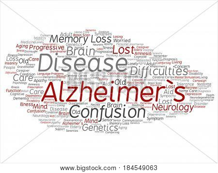 Concept conceptual red old Alzheimer`s disease symptom abstract word cloud isolated on background. Collage of care, loss, care giving, aging resistance, neurology, language, motor or resistance text