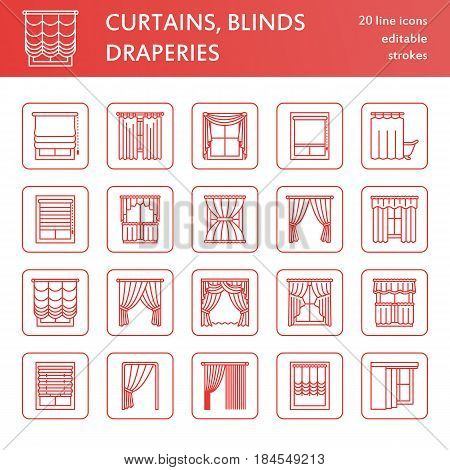 Window curtains, shades line icons. Various room darkening decoration, lambrequin, swag, french curtain, blinds and rolled panels. Interior design thin linear signs for house decor shop. Red color.