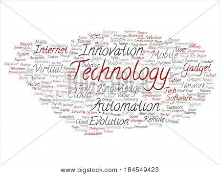 Concept or conceptual red gray digital smart technology, innovation media word cloud isolated background. Collage of information, internet, future development, research, evolution or intelligence text