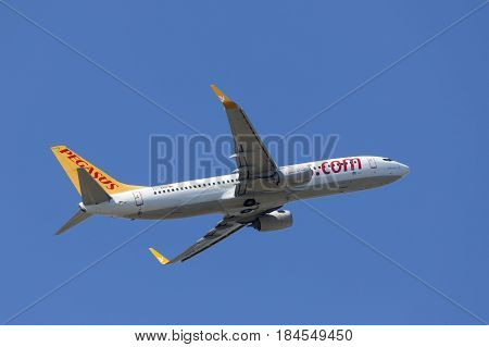 Frankfurt Germany - March 30 2017: Pegasus airlines Boeing 737-82R after take off at the Frankfurt international airport