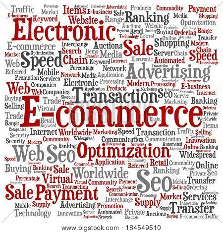 Concept or conceptual red E-commerce electronic sale square word cloud isolated background. Collage of seo optimization transaction, web advertising, e-business, technology, worldwide supply text