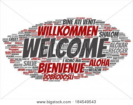 Concept or conceptual red abstract welcome or greeting international word cloud in different languages or multilingual. Collage of world, foreign, worldwide travel, translate, vacation tourism text