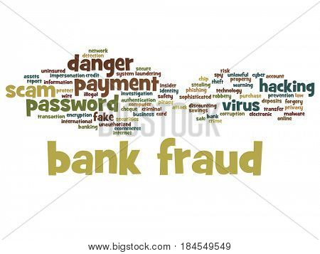 Conceptual bank green fraud payment scam danger abstract word cloud isolated background. Collage of password hacking, virus fake authentication crime, illegal transaction identity theft text concept