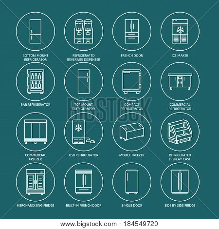 Refrigerators flat line icons. Fridge types, freezer, wine cooler, commercial major appliance, refrigerated display case. Thin signs for household equipment shop. White symbols on dark background.