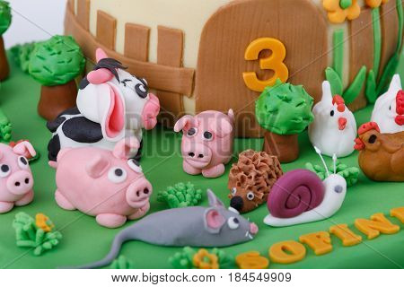 Birthday Cake With Farm Marzipan Animals