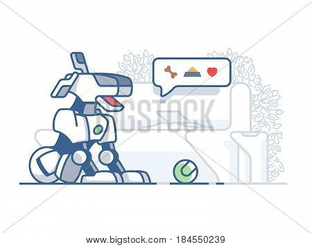 Modern dog robot. Latest technology, artificial pet vector flat illustration