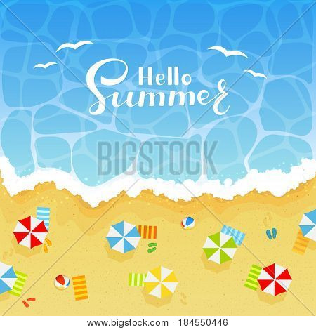 Summer background with lettering Hello Summer on ocean or sea. Sandy beach with colored beach balls, umbrellas, towels and flip flops with footprints, illustration.