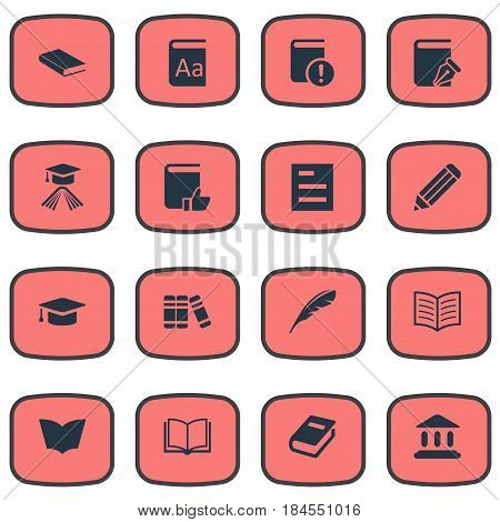 Vector Illustration Set Of Simple Reading Icons. Elements Sketchbook, Alphabet, Library And Other Synonyms Dictionary, Graduation And Academic.
