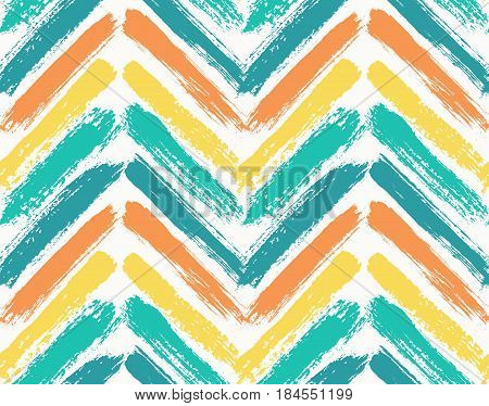 Painted chevron pattern. Seamless brush stroke lines. Sketchy hand drawn graphic print. Orange, yellow and blue background. Grungy decoration. Vector design. Wallpaper, furniture fabric, textile.