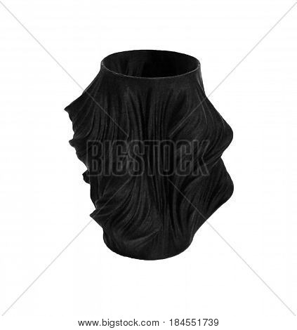 Objects printed by 3d printer Isolated on white background. Bright colorful object. Vase of black color. Automatic three dimensional 3d printer performs plastic modeling. Modern 3D printing technology