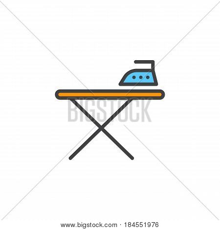 Ironing board and iron line icon filled outline vector sign linear colorful pictogram isolated on white. Symbol logo illustration