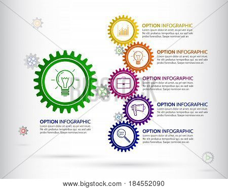 Infographic design template with gear chain. Colorful gear symbol with number icons and Information text.