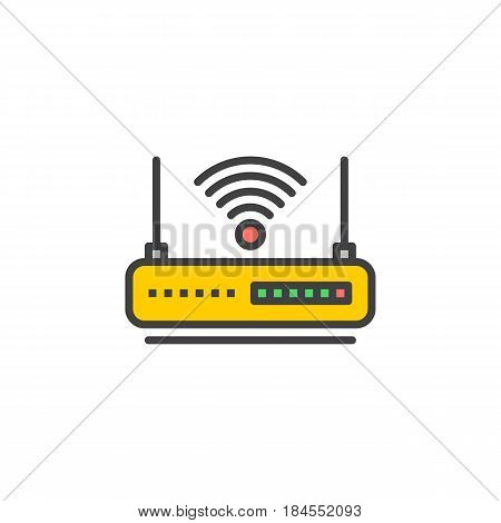 WIFI router line icon filled outline vector sign linear colorful pictogram isolated on white. Internet hotspot symbol logo illustration