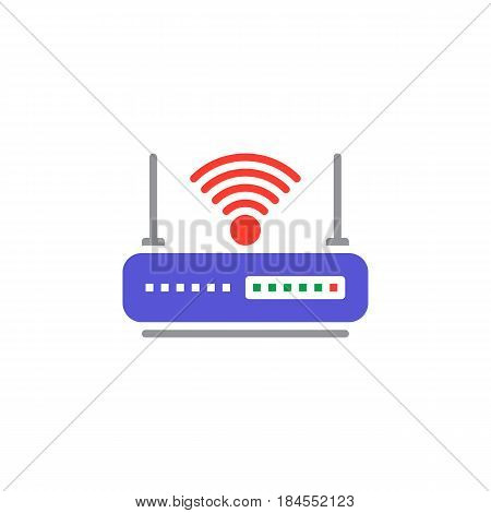 WIFI router icon vector filled flat sign solid colorful pictogram isolated on white. Internet hotspot symbol logo illustration