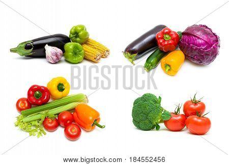 Fresh vegetables isolated on white background. Horizontal photo.