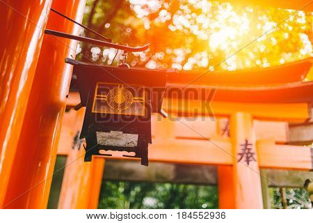 Beautiful Sun Light At Fushimi Inari Shrine (fushimi Inari Taisha) Red Japan Shrine Temple In Autumn
