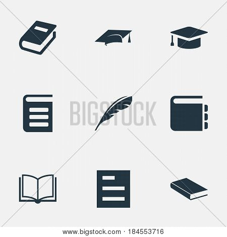 Vector Illustration Set Of Simple Education Icons. Elements Academic Cap, Encyclopedia, Academic Cap And Other Synonyms Feather, List And Note.