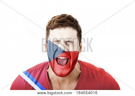 Man with Czech Republic flag on face.
