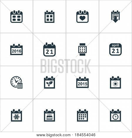 Vector Illustration Set Of Simple Calendar Icons. Elements 2016 Calendar, Remembrance, Deadline And Other Synonyms Calendar, Watch And Special.