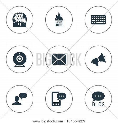 Vector Illustration Set Of Simple User Icons. Elements Man Considering, Post, Gazette And Other Synonyms Hot, E-Letter And Phone.