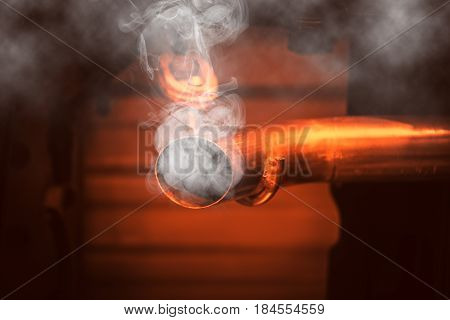Danger Of Car Smoke Concept. Carbon Monoxide Smoke Vehicle Pollution Exhaust Pipe.