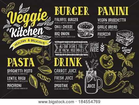 Vegan food menu for restaurant and cafe. Design template with hand-drawn graphic elements in doodle style.