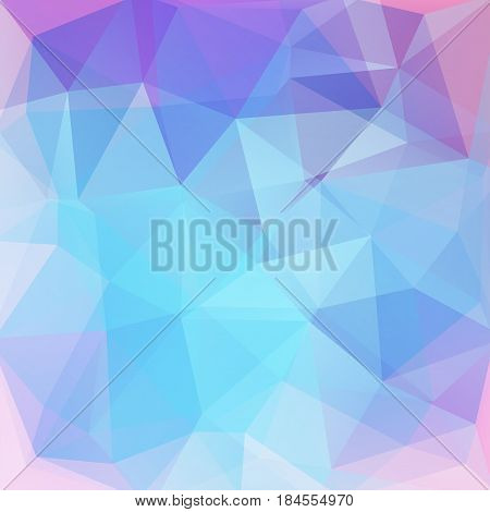 Background Made Of Pastel Pink, Blue Triangles. Square Composition With Geometric Shapes. Eps 10
