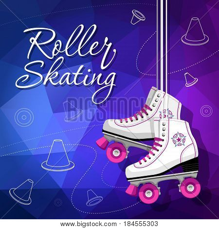 Quad skates classic. Roller skates hanging on the laces. Sport. Background. Vector illustration.