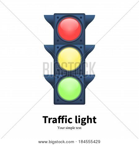 Vector illustration of a luminous traffic light signal. Isolated white background. Icon stoplight.