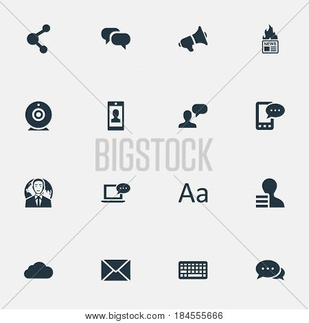 Vector Illustration Set Of Simple Newspaper Icons. Elements International Businessman, Overcast, Loudspeaker And Other Synonyms Speaker, Phone And Epistle.