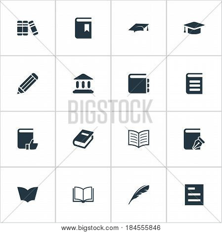 Vector Illustration Set Of Simple Reading Icons. Elements Journal, Bookshelf, Academic Cap And Other Synonyms Encyclopedia, Hat And Writing.