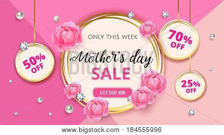 Mother's Day Sale Background Template With Flowers, Roses, Diamond And Pearl For Promotion Banner, A