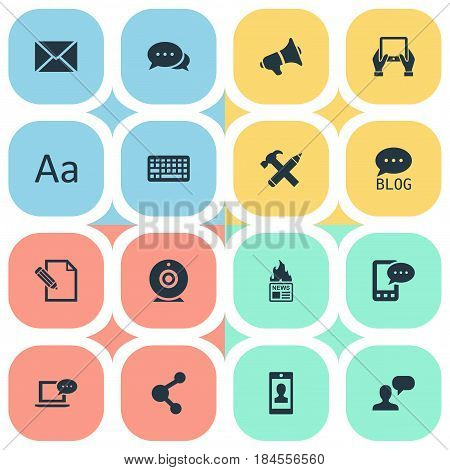 Vector Illustration Set Of Simple Blogging Icons. Elements E-Letter, Argument, Profile And Other Synonyms Gazette, Share And Blog.