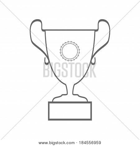 Cup reward isolated. Modern symbol of victory and award achievement sport. Insignia ceremony awarding of winner tournament. Monochrome template for badge tag. Design element. Vector illustration