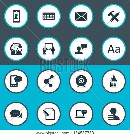 Vector Illustration Set Of Simple Blogging Icons. Elements Laptop, Document, Keypad And Other Synonyms Cedilla, Web And International.