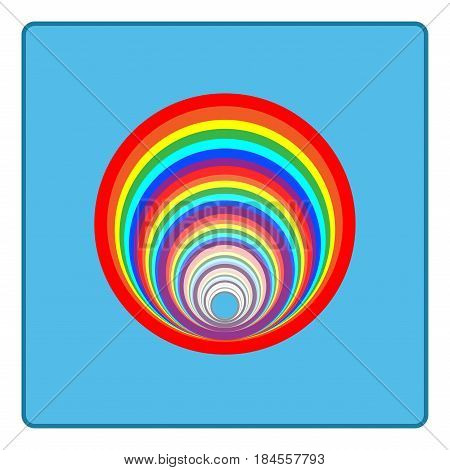 Rainbow circle sign. Illustration colorful spectrum arc. Cute colorful symbol spring summer rain. Color bow mark clean nature. Template for t shirt card poster. Design element Vector illustration