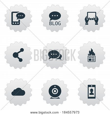 Vector Illustration Set Of Simple User Icons. Elements Gazette, Overcast, Share And Other Synonyms Web, Notepad And Argument.