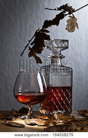 Snifter And Decanter Of Brandy