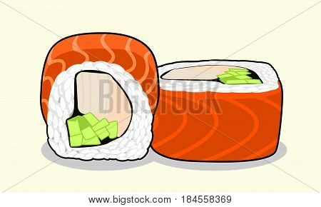 Vector illustration red dragon uramaki sushi roll with salmon fish, cucumber, avocado, cream cheese and japanese omelette isolated on a light background.