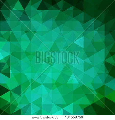 Background Made Of Green, Blue Triangles. Square Composition With Geometric Shapes. Eps 10