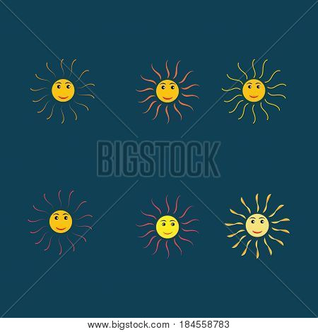 The sun set sign on blue background. Orange solar mark. Bright sunny icon good mood. Isolated logo spring summer. Symbol hot warm sunlight and good weather. Flat vector image. Vector illustration