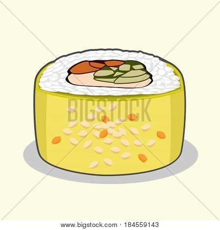 Green Dragon uramaki sushi roll with eel fish, avocado, cucumber, sesame seeds cream cheese. Vector illustration isolated on a light background.