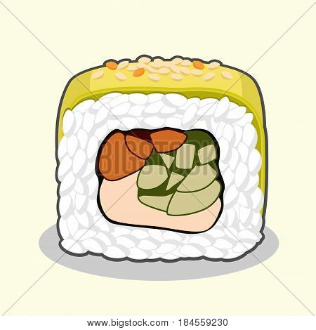 Vector illustration of cut green dragon uramaki sushi roll with eel fish, cucumber, avocado, sesame seeds and cream cheese isolated on a light background.