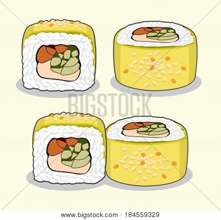 Vector set of green dragon uramaki sushi roll with eel fish, cucumber, avocado, sesame seeds and cream cheese from different angles isolated on a light background.