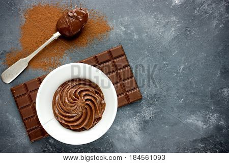 Chocolate frosting or chocolate cream top view