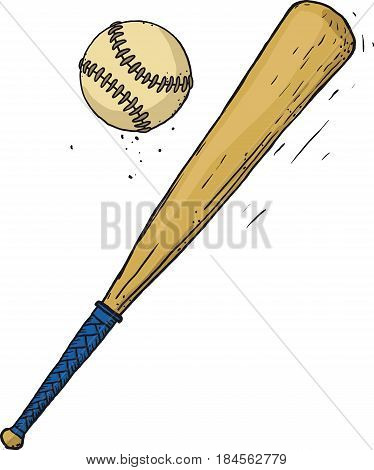 Carelessly painted wooden baseball bat and ball isolated on white background