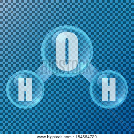 H2O with soap bubbles isolated vector illustration. Eps 10.