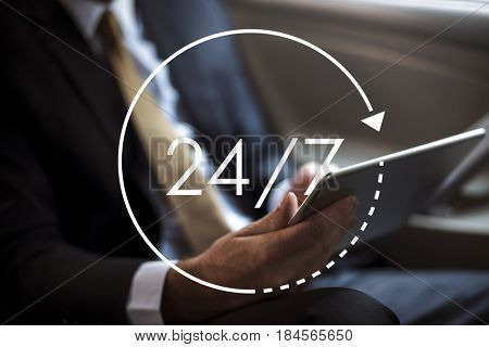 24/7 all day all night icon illustration