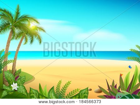 Tropical paradise island sandy beach, palm trees and sea. Vector cartoon illustration Hawaii