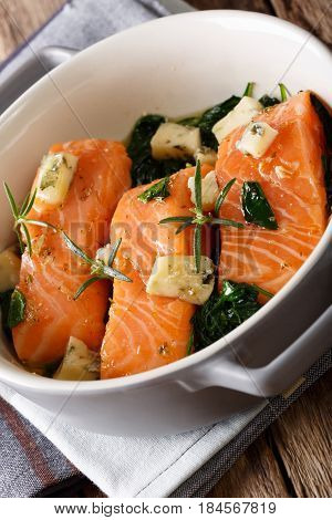 Salmon Baked With Spinach And Roquefort Cheese Close-up. Vertical